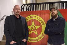 Robert Mathiasson och Johan Karlsson från Kommunistiska partiet