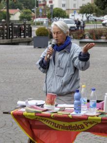 Vera Pettersson talar om pensionsfrågan 13 sept